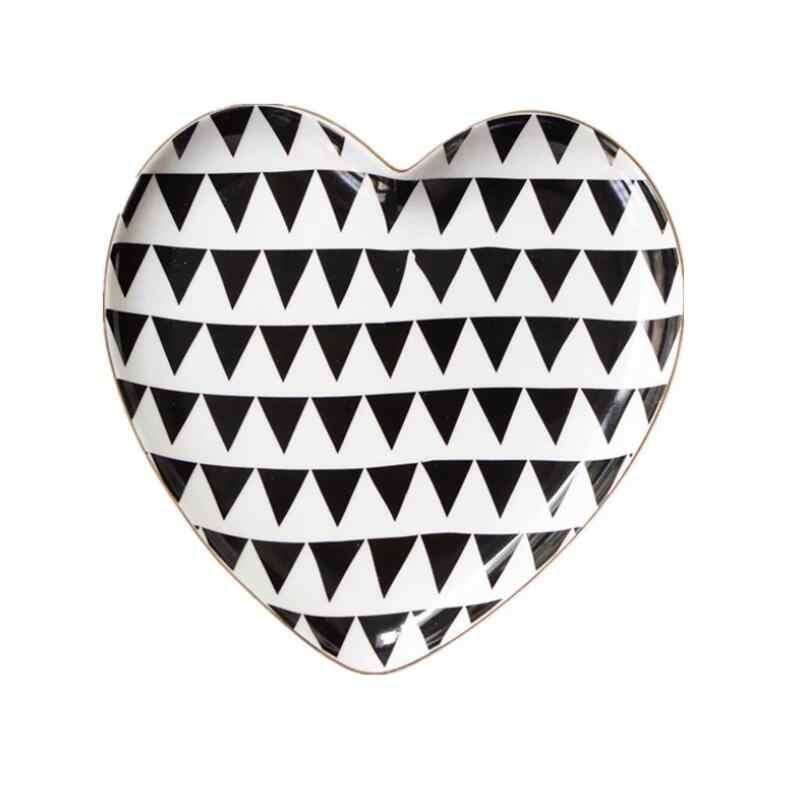 Nordic Mewah Kreatif Mencintai Keramik Perhiasan Menerima Piring Makanan Penutup Kue Desktop Penempatan Piring Menyajikan Hidangan Dish