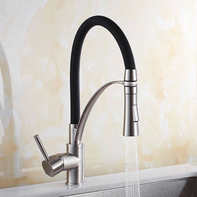 Kitchen Faucet Sink Mixer Tap Pull Out/Down Black And Nichel Brushed 360 Degree Swivel Single Handle Water Tap Kitchen Torneiras kitchen sink faucet pull out pull down black brushed 360 degree swivel single handle mixer tap kitchen vegetable faucet torneira