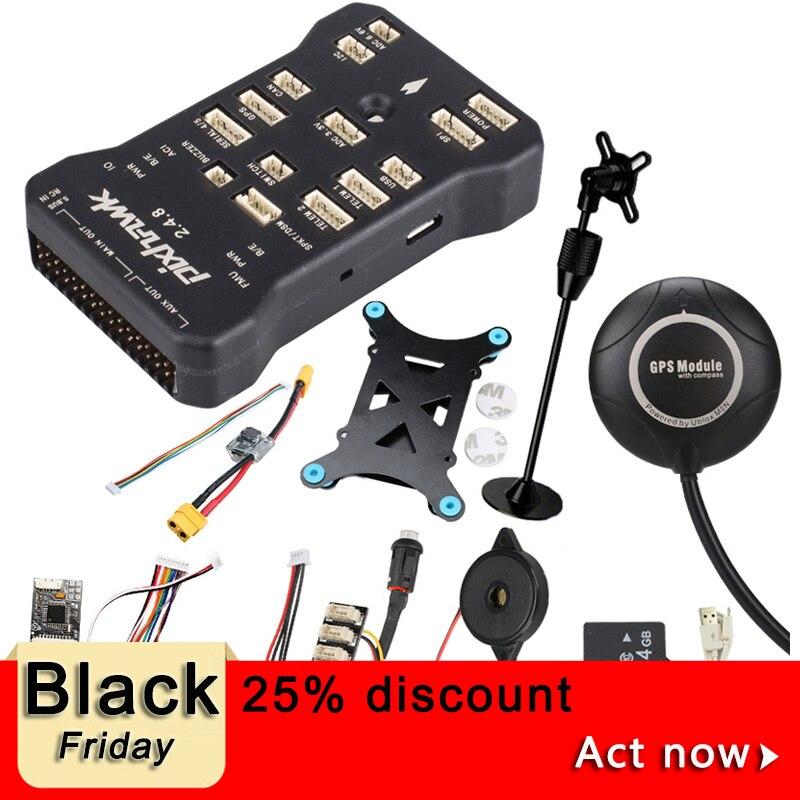 Pixhawk PX4 PIX 2.4.8 32 Bit Flight Controller w/ 4G SD Safety Switch Buzzer M8N GPS+PPM+I2C+shock Absorber+xt60 power module