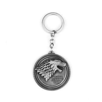 Game of Thrones Shield Keychain Wolf Head Logo House Stark High Quality Maxi Keychain Men Car Accessories Wolf Head Keyrings