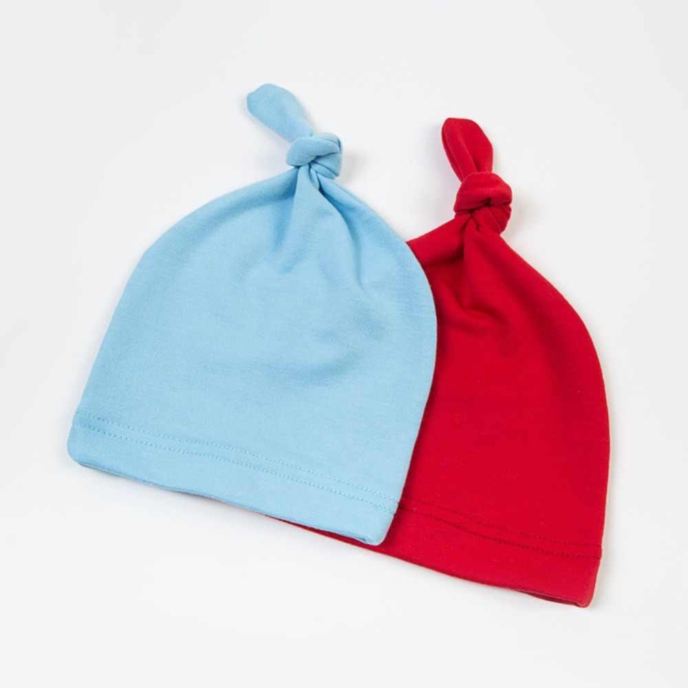 0-24 M otoño recién nacido niños niñas cálido sombrero niños Color sólido gorros anudado gorra ropa de dormir gorro suave para niños y niñas