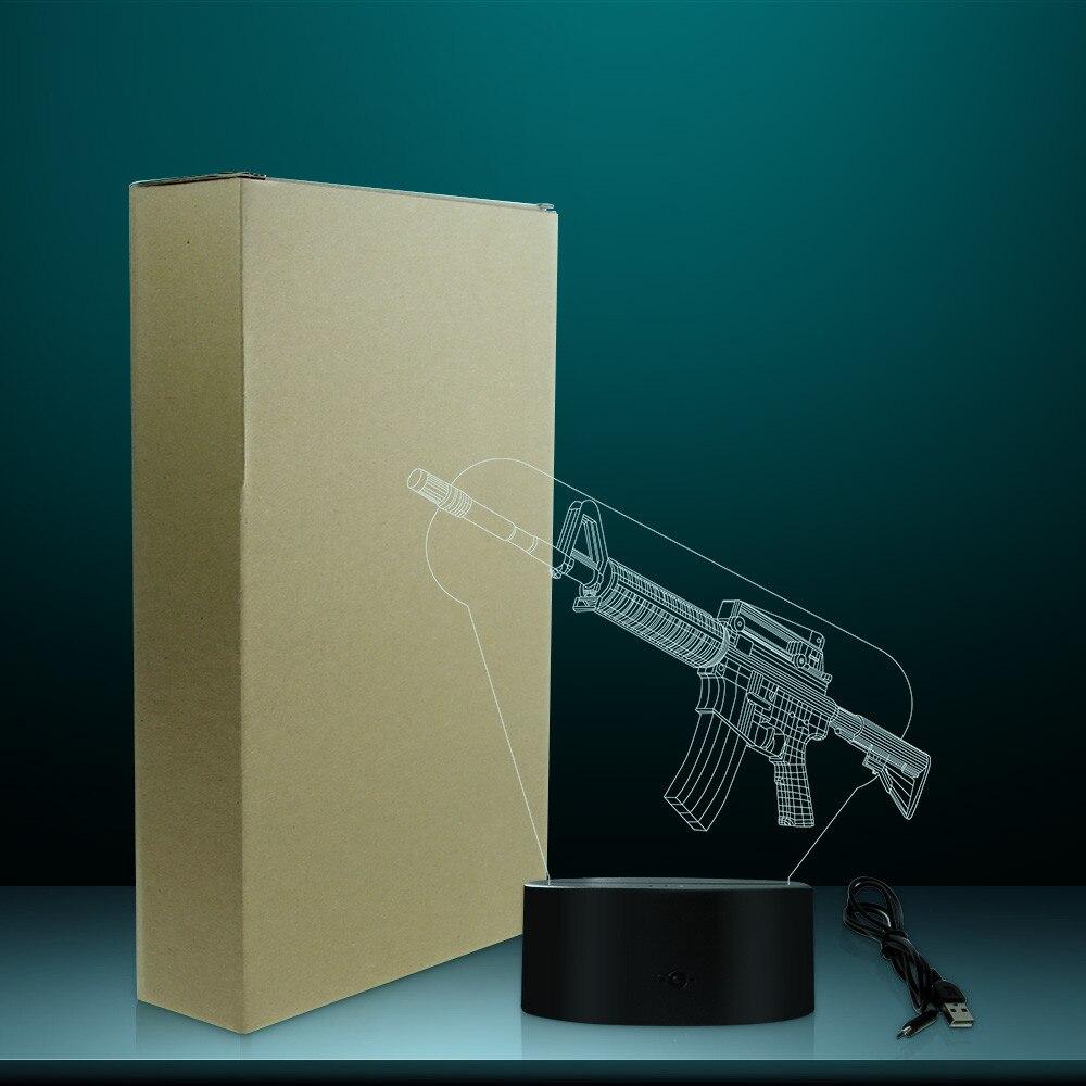 Image 5 - Optical illusion Table Lamp Machine Gun Design 3D Acrylic Lights Military Weapon AK Gun Night Light Gift for Gun EnthusiastsNovelty Lighting   -