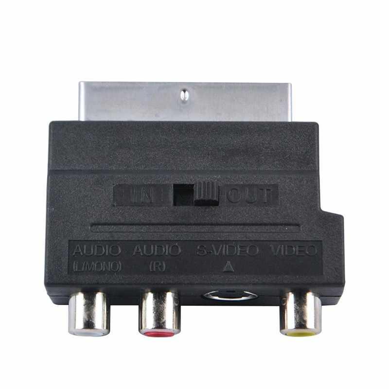 SCART в композитный 3 RCA SVHS S-Video Phono AV ТВ аудио адаптер Connverter с выключателем In-Out для игровой консоли DVD камеры
