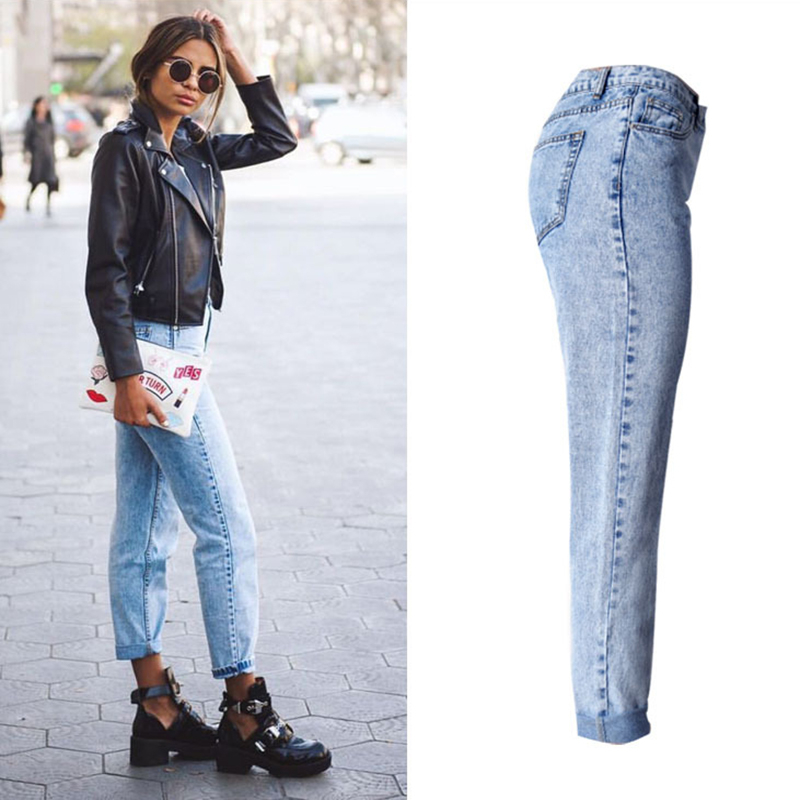 2017, the latest, fashion trends, Europe and the United States women's BF street snow high waist loose straight denim trousers have a large size of nine pants new clothes, (3)