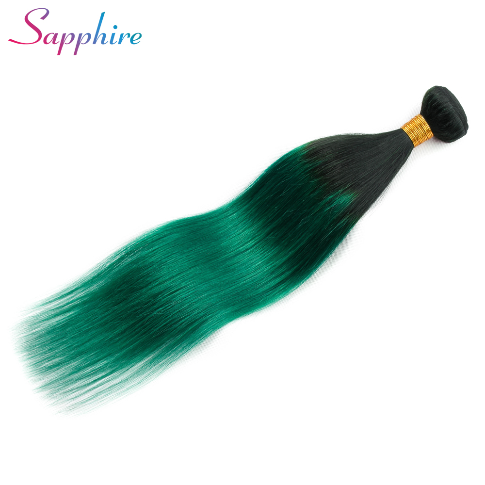 Sapphire HAIR Malaysian Straight Hair 100% Human Hair Bundles Remy Hair Extension Ombre Color TB/Green Can Buy 3 or 4 Bundles