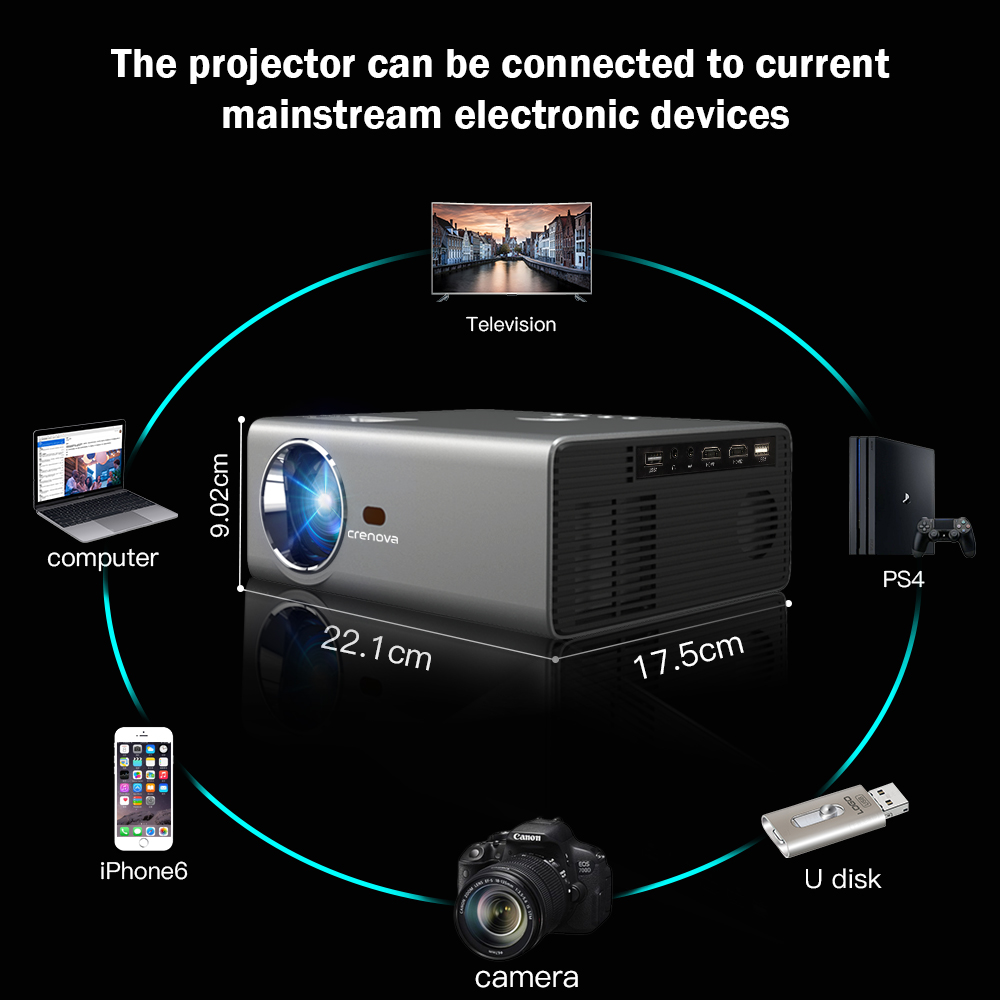 Image 5 - CRENOVA 2019 Newest LED Projector HD 1280*720P Android 6.0OS 3800 Lumens Home Cinema Movie Android Projector With WIFI Bluetooth-in LCD Projectors from Consumer Electronics