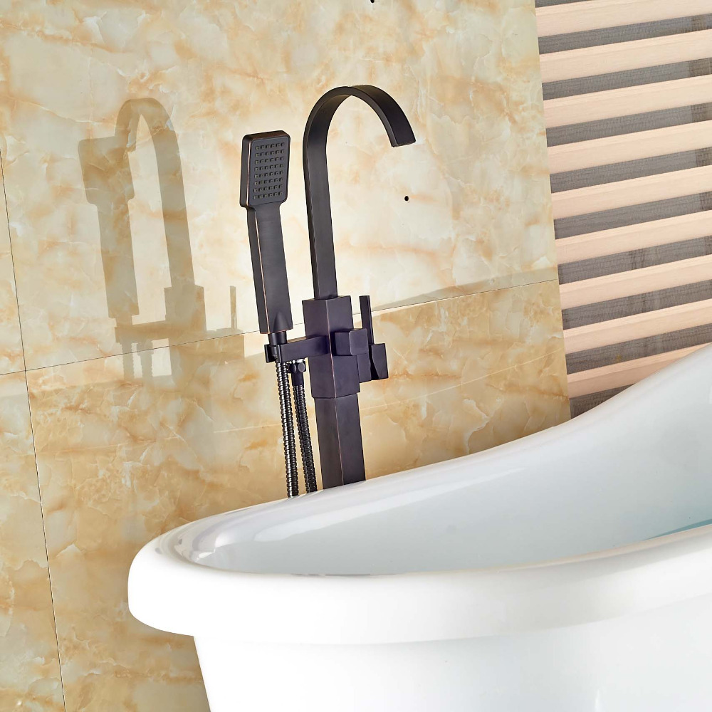 Floor Mount Single Handle Bathtub Mixer Faucet Free Standing with Handheld Shower Tub Filler Oil Rubbed Bronze