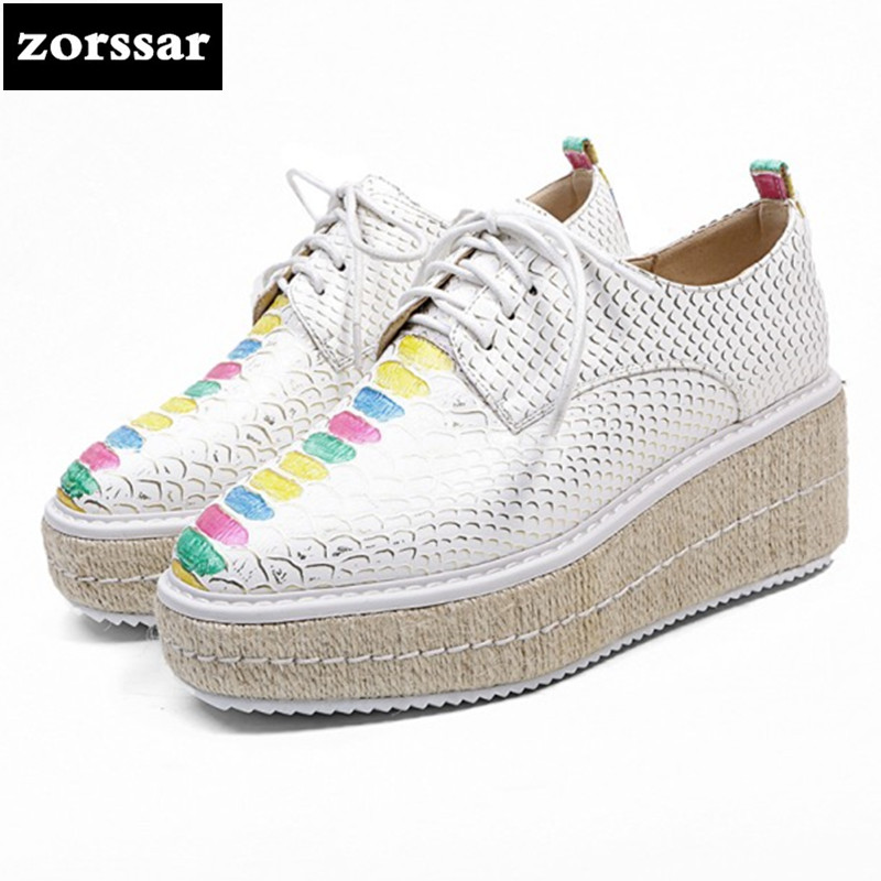 {Zorssar} 2018 Genuine Leather fashion womens shoes Platform heels Leisure Lace-up Wedges High heels pumps ladies casual shoes zorssar autumn ladies shoes wedge high heels women platform pumps fashion casual lace up genuine leather suede womens shoes