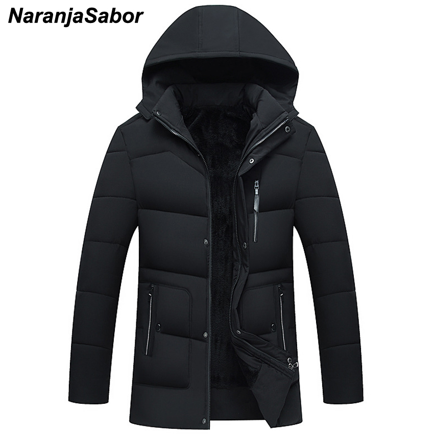 NaranjaSabor 2019 Winter Men's Thicken Jackets Casual   Parka   New Hooded Outwear Male Cotton-padded Coats Mens Brand Clothing N466