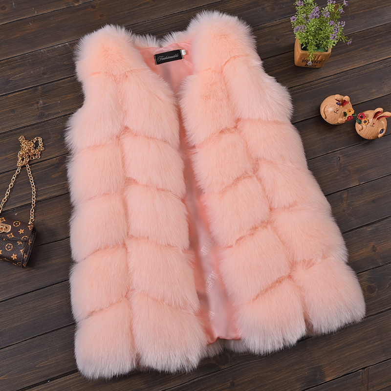 New Fashion Winter Faux Fox Fur Girl Clothes Girl faux fur Coat imitation Fur Vest Children Girls plush Waistcoat etosell women faux fox fur shaggy waistcoat long hair lapel vest coat camel l