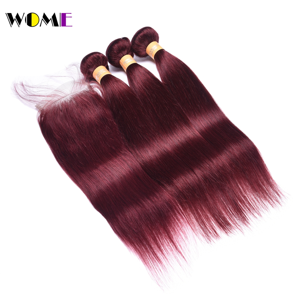 Wome Hair Straight Bundles With Frontal Indian Human Hair Bundle With Closure Ombre Burgundy Pre Colored