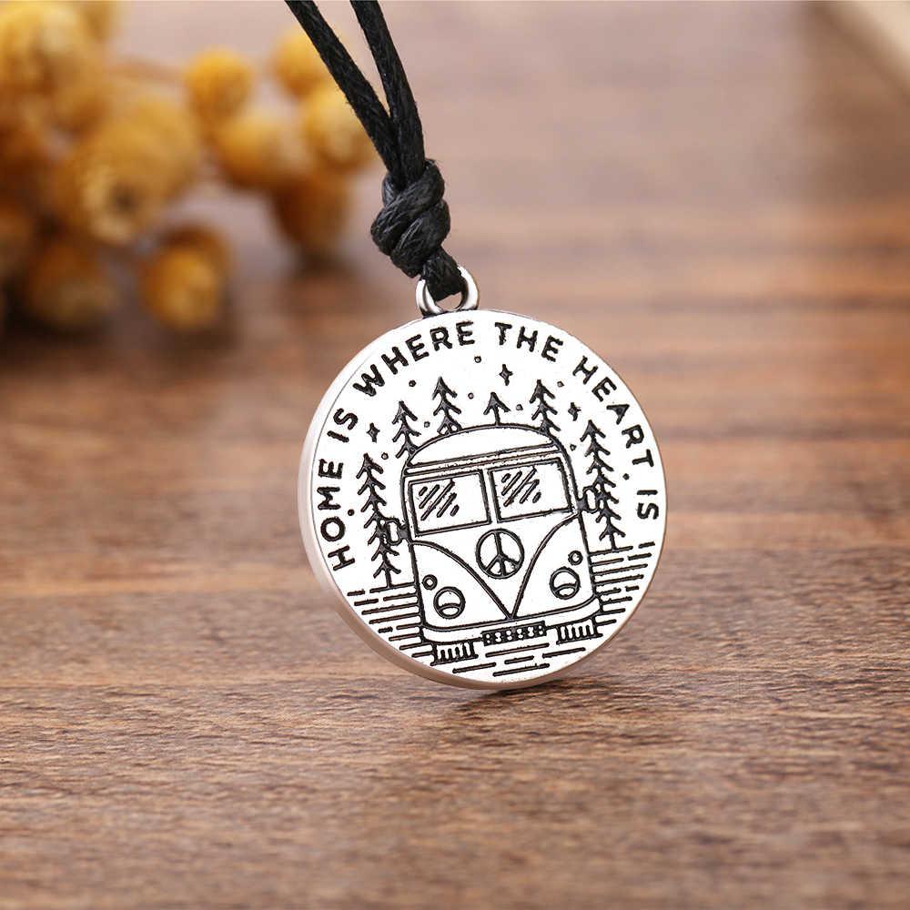 Dawapara הודעה הבית הוא איפה את לב הוא עגול תליון שרשרת עתיק רסיס קמפינג משמעותי קסם שרשרת תכשיטים