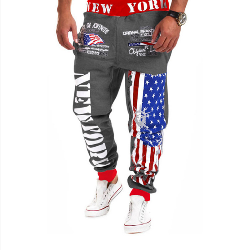 Для отдыха Спортивные штаны Для мужчин свободные бег спортивный костюм Запуск пот Штаны Волшебный цвет печатные буквы Фитнес брюки открыты...