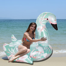 60 Inch 1.5M Giant Inflatable Swan Pool Float Ride-On Floral Print Flamingo Swimming Ring Holiday Party Water Toys Boias Piscina(China)