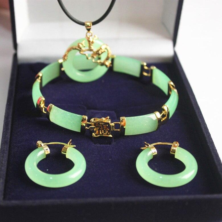 new! woman's noblest fine green jades dragon pendant & earring bracelet jewelry set