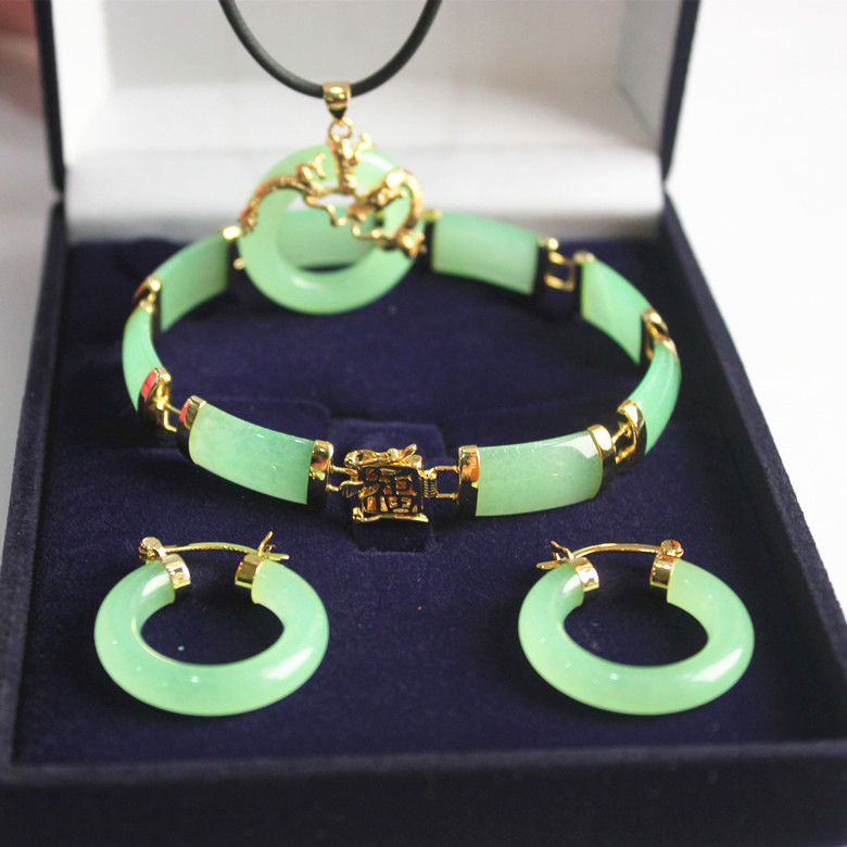 new! woman's noblest fine green jades dragon pendant & earring bracelet jewelry set