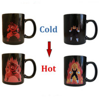 Free Shipping Dragon Ball Z Coffee Mug Goku Vegeta Cup Heat Reactive Color Change Ceramic Novelty