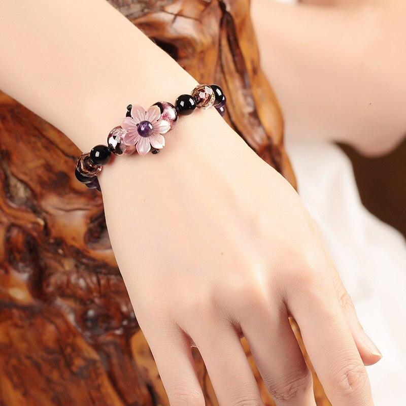 Bracelets Grape colour Fresh Sweet Bracelet For Women Adjustable Jewelry Gift Vintage Bracelets & Bangles Ceramic Friendship