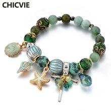Chicvie зеленые раковины и морские звезды браслеты дружбы шармы