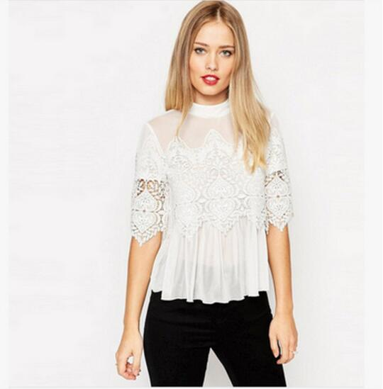 2016 Spring Summer Women Short Sleeve Lace Tops Blusas Casual Chiffon White Sexy Lace Floral Tops Blouses Shirts