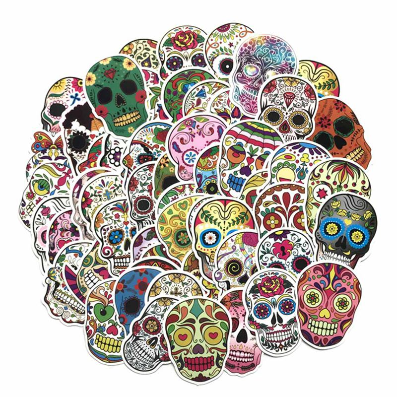 Energetic 60pcs/pack Fantasy Horror Skull Cartoon Cute Stickers For Suitcase Skateboard Laptop Toys Flash Waterproof Sturdy Construction Stationery Stickers