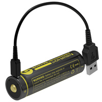 NITECORE NL1834R 3400mAh High Performance Micro USB Rechargeable Li Ion Battery 12 24Wh 3 6V Button
