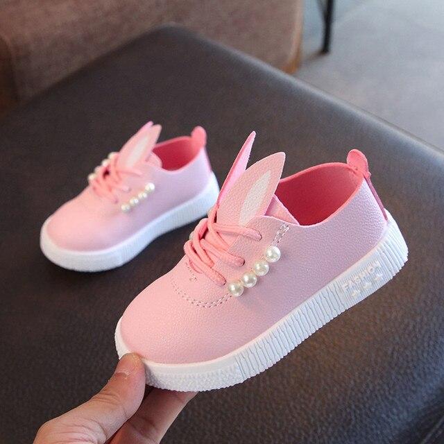 MUQGEW ילדים פעוט בנות חמוד פרל ארנב אוזן נעליים יומיומיות עבור ילדות קטנות ילדים סניקרס # XTN