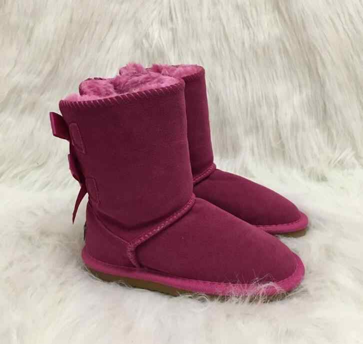 14bb4cdce3b Australia Brand Women Boots Short Leather Baileys two Bow Winter Boots  Ladies Warm Snow Boots Women Shoes free shipping
