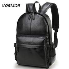 Mochila de cuero para hombre marca VORMOR mochila escolar bolsa de viaje a prueba de agua de moda bolsa de libro de cuero Casual para hombre