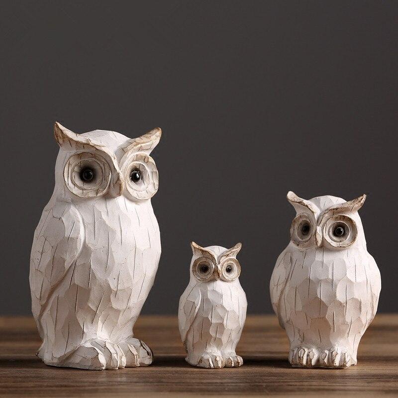 3 Pcs Lot Retro Owl Figurine Ornaments Creative Vintage Animal Sculpture For Modern Home Decors