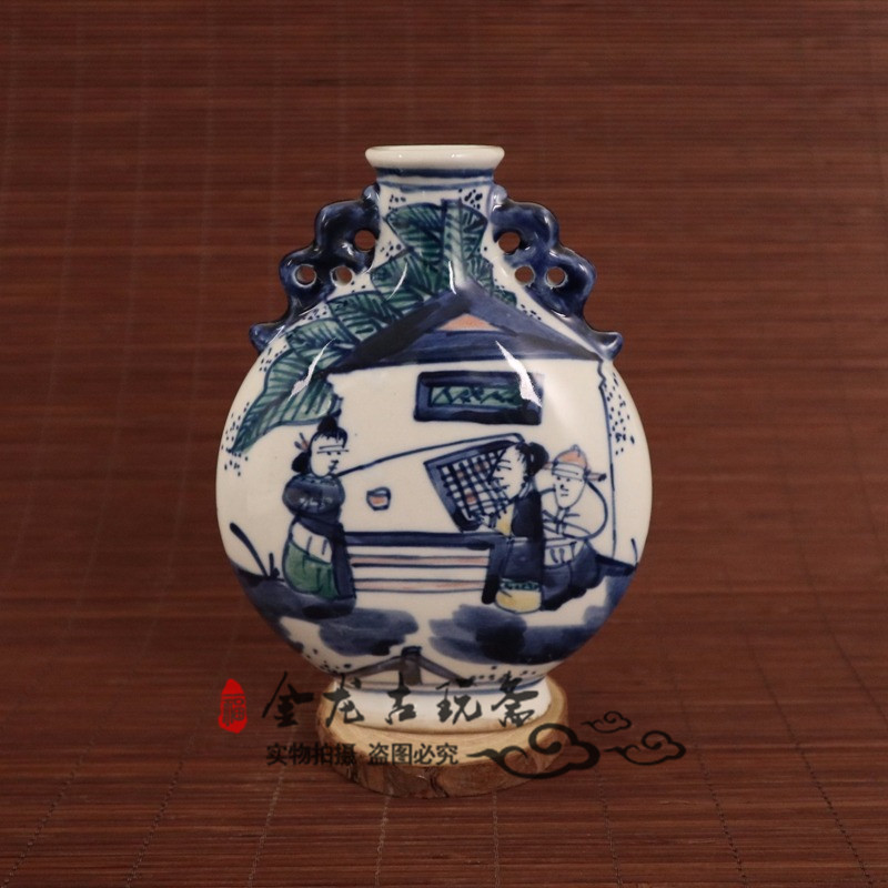 Chinese old porcelain Blue and white flat porcelain vaseChinese old porcelain Blue and white flat porcelain vase