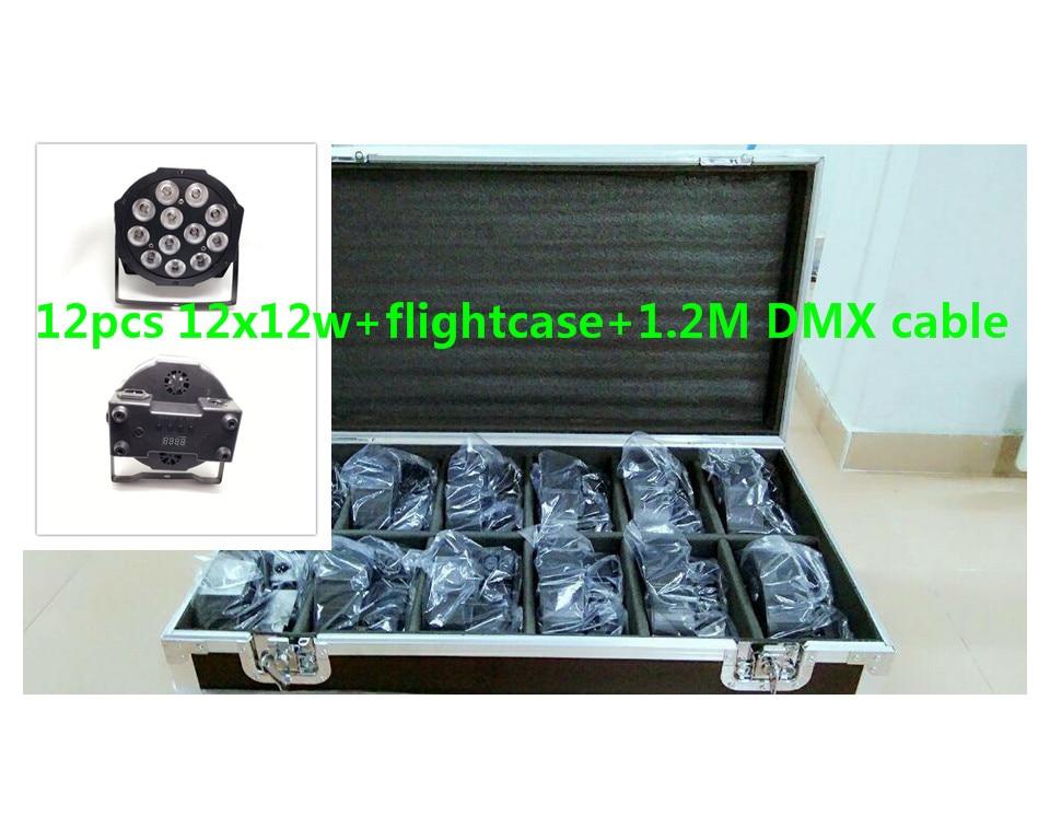 12pcs 12x12W flightcase 1 2m Dmx cable LED Flat SlimPar Quad Light 4in1 LED DJ Wash