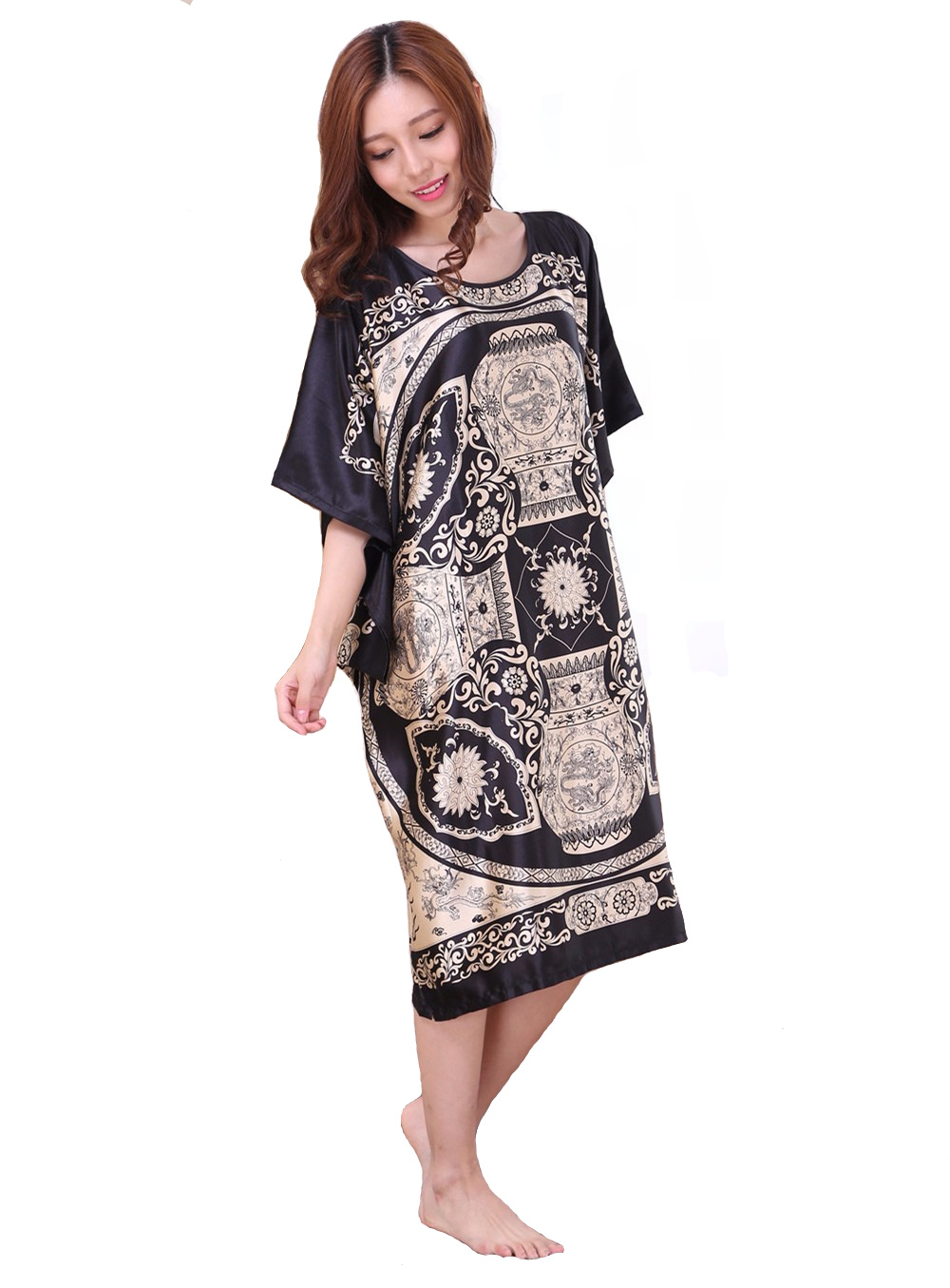 BLACK Plus Size Women's Faux Silk Robe New Fashion Style Summer Lady Bath Gown Bathrobe Nightgown Sleepwear Mujer Pijama 0524