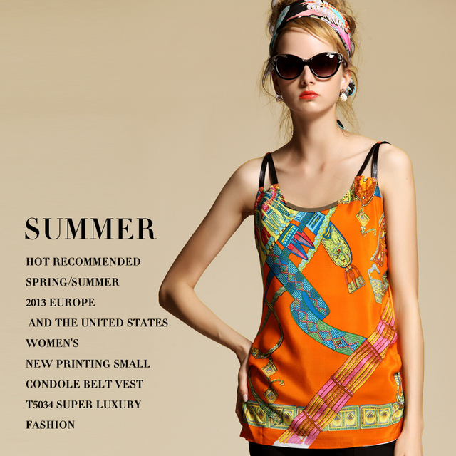 2013 spring and summer fashion women's luxury super fashion print spaghetti strap small vest t5034