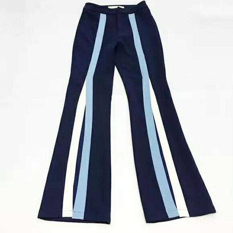 2018 new Women   Wide     Leg     Pants   Stripe Split   Pants   High Waist Flare Trousers