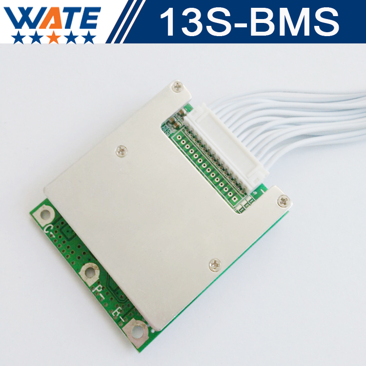 2PCS/lot 48V BMS 13S BMS used for 48v 10ah 15ah li-ion battery pack 3.7v cell 13s PCM / PCB / BMS With balance function hot sale battery bms protection pcb board for 3 4 pack 18650 li ion lithium battery cell for rc parts