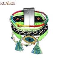 KCALOE Handmade Bohemia Boho Bracelet Fashion Charm Tassel Rhinestone Wide Multilayer Punk Rock Evil Eye Bracelets