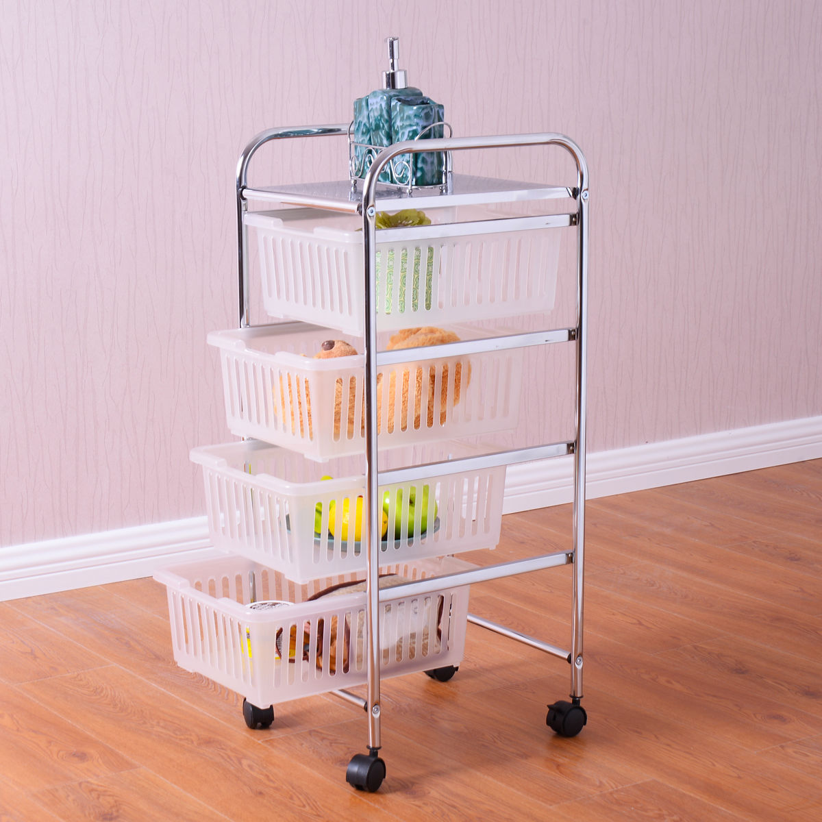 Goplus 5 Tier Bathroom Storage Trolley Rolling Cart Rack Steel Storage Basket Shelf Home Kitchen Bathroom Furniture HW54121