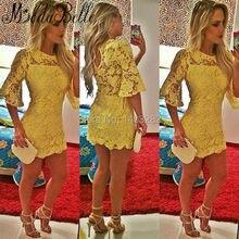 Sexy Gelbe Spitze Cocktailkleider Short Mini Party Kleider Mit Halbarm Mädchen Feierlichen Anlass Kleider Vestido De Noche