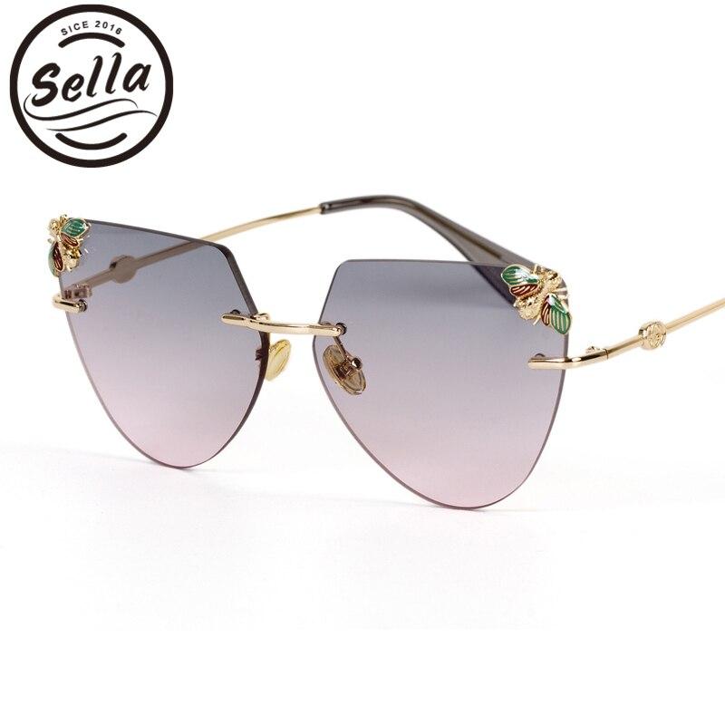 Sella 2018 nueva llegada de la manera hombres de las mujeres Oversized Rimless Cateye gafas Color caramelo gradiente lente abejas decoración Eyewear