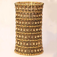 Mehrschichtige stretch armreif frauen kristall hochzeit brautmode schmuck gold silber farbe großhandel dropshiping B15 7 REIHE