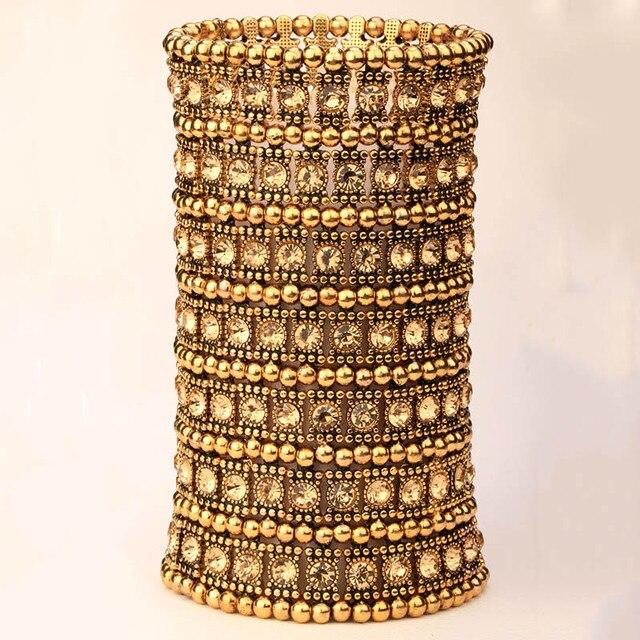 Yacq Multilayer stretch cuff bracelet women crystal wedding