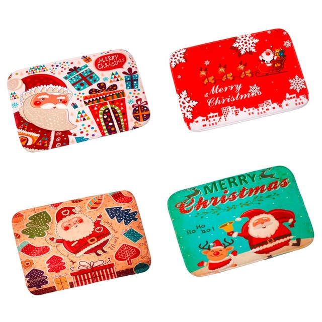 FENGRISE Merry Christmas Door Mat Santa Claus Flannel Outdoor Carpet Christmas Decorations For Home Xmas Party Favors New Year 5