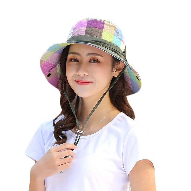 2018 Summer Sun Hat For Women Large Brim Floppy Summer Cotton Bucket Hats  Female Beach Foldable 76d08cf8f9e2
