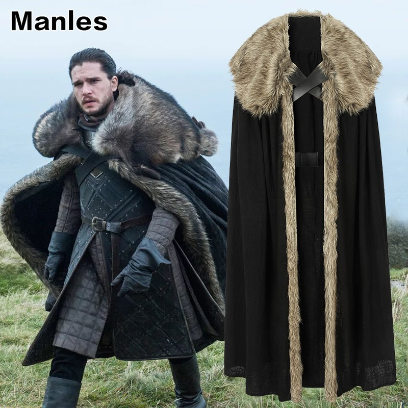 Game Of Thrones 8 Jon Snow Costume Cosplay Adult A Song Of Ice And Fire Halloween Carnival Party Only Cloak Cape Jacket Gloves