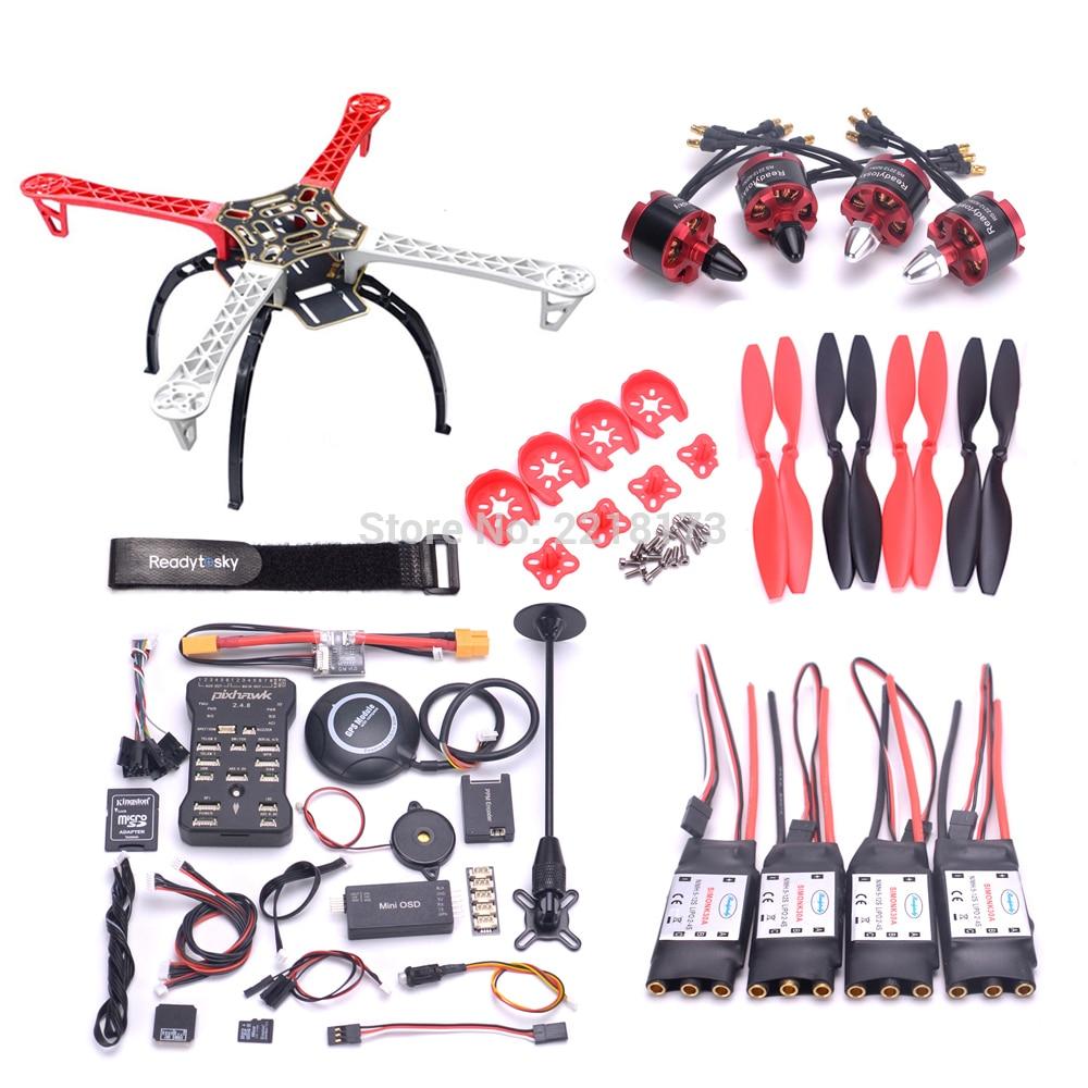F450/S500 PCB 500 Quadcopter marco Kit Pixhawk PIX 2.4.8 Placa de controlador M8N GPS Mini OSD PM 2212 920kv motor 30A ala fija CES