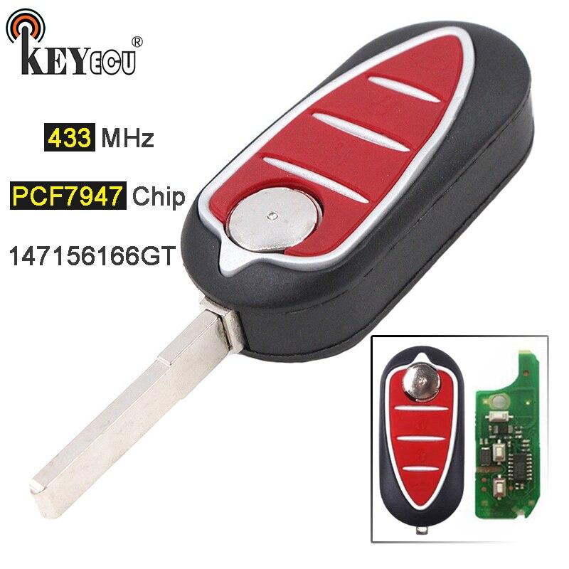 KEYECU 433 MHz PCF7947 puce 147 156 166 GT remplacement 3 bouton Flip télécommande voiture porte-clés pour Alfa Romeo Mito Giulietta