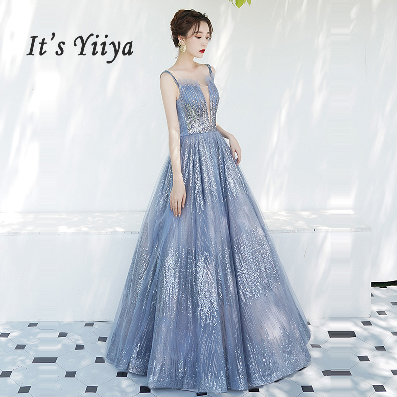 It's Yiiya Evening Dress Boat Neck Women Party Dresses Sequin Robe De Soiree 2019 Plus Size Ruffle Sleeveless Formal Gowns E664