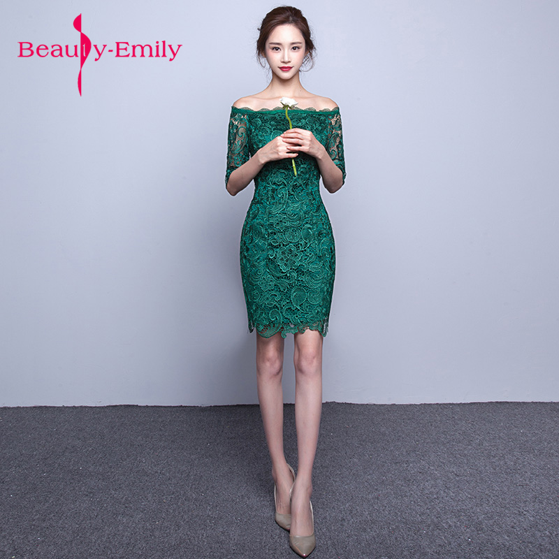 Beauty Emily Green Short   evening     Dresses   2019 Elegant Lace prom   dress   Women Prom gown   Dress   Sheath Bodycon Formal Party   Dresses