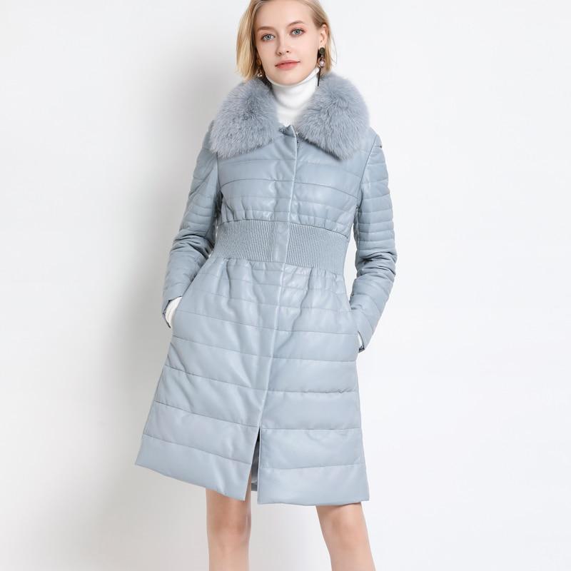 100% Real Fox Fur Collar Down Jacket Women Genuine Leather Fur Long Parka 2019 New Natural Sheepskin Women White Duck Down Coats